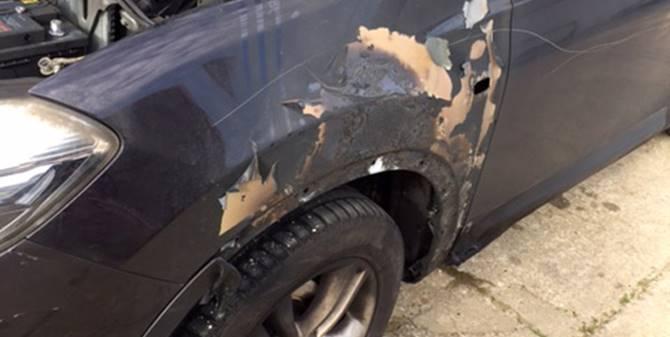 Cortale, l'auto danneggiata