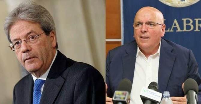 Il premier Gentiloni e il presidente Oliverio