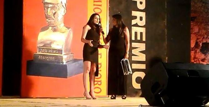 Erica Cunsolo al momento della consegna del Pericle d'Oro