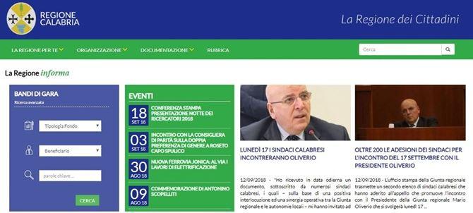 il sito web della Regione Calabria
