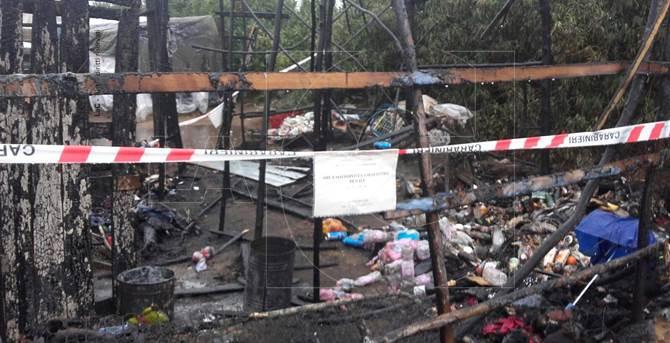 Incendio nella tendopoli di San Ferdinando
